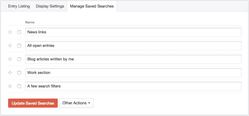 Manage Saved Searches - Zenbu for Craft